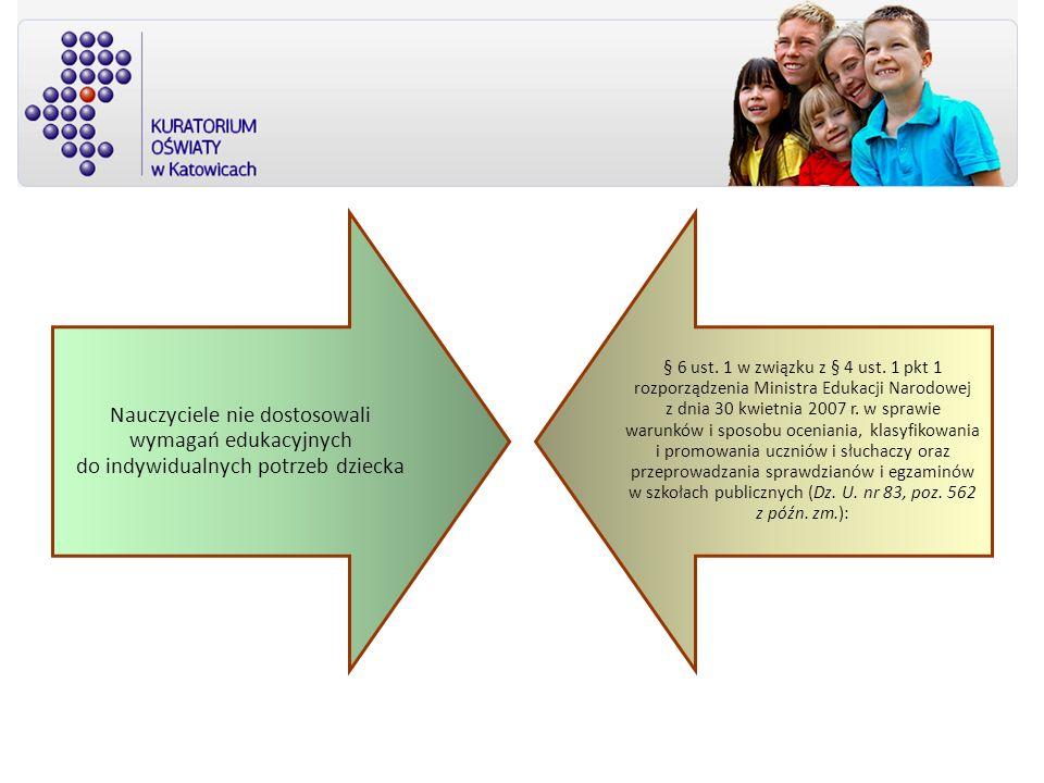 Nauczyciele nie dostosowali wymagań edukacyjnych do indywidualnych potrzeb dziecka § 6 ust. 1 w związku z § 4 ust. 1 pkt 1 rozporządzenia Ministra Edu