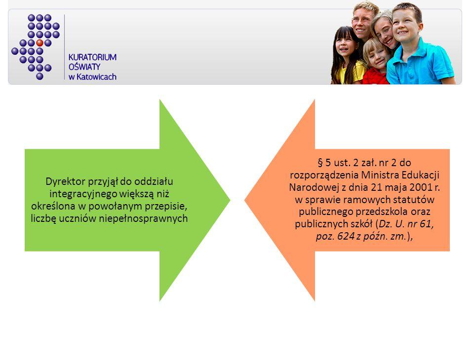 Dyrektor przyjął do oddziału integracyjnego większą niż określona w powołanym przepisie, liczbę uczniów niepełnosprawnych § 5 ust. 2 zał. nr 2 do rozp
