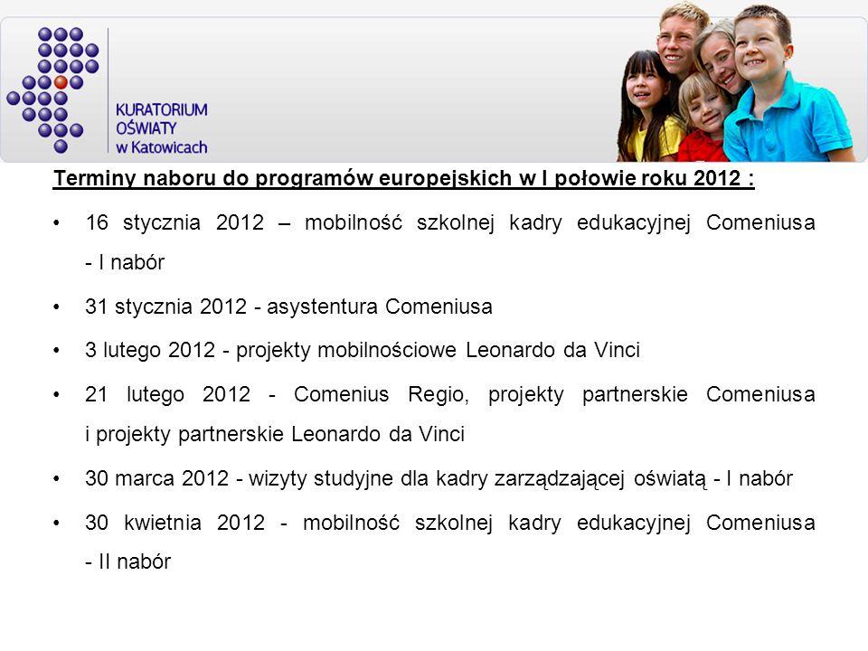 Terminy naboru do programów europejskich w I połowie roku 2012 : 16 stycznia 2012 – mobilność szkolnej kadry edukacyjnej Comeniusa - I nabór 31 styczn