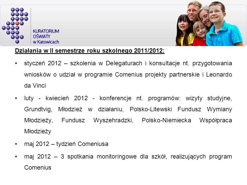Działania w II semestrze roku szkolnego 2011/2012: styczeń 2012 – szkolenia w Delegaturach i konsultacje nt. przygotowania wniosków o udział w program