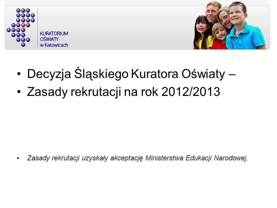 Decyzja Śląskiego Kuratora Oświaty – Zasady rekrutacji na rok 2012/2013 Zasady rekrutacji uzyskały akceptację Ministerstwa Edukacji Narodowej.