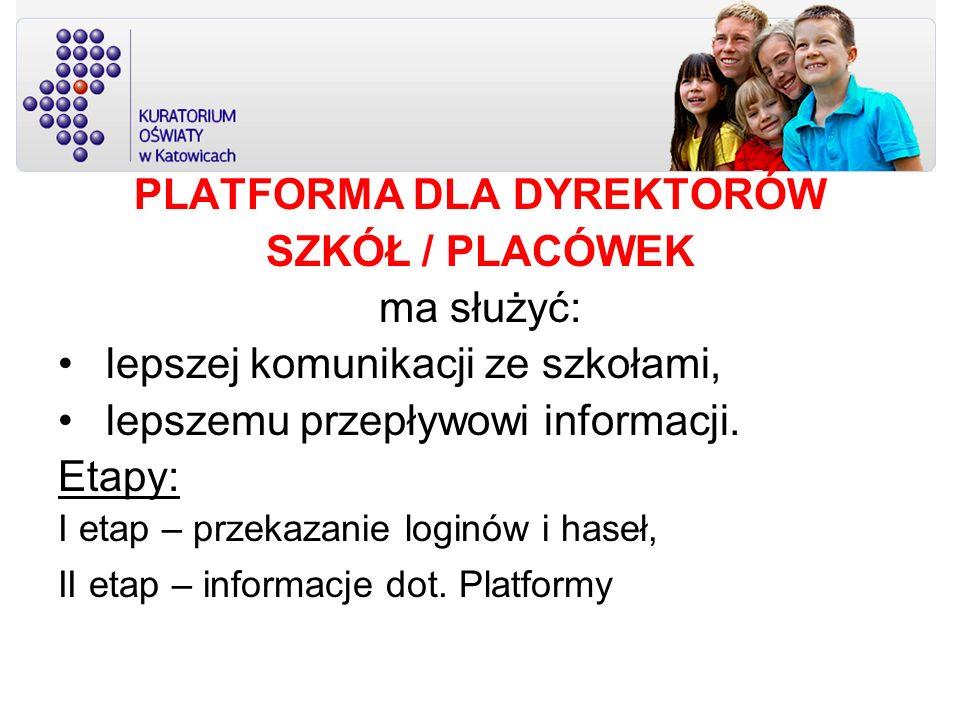 PLATFORMA DLA DYREKTORÓW SZKÓŁ / PLACÓWEK ma służyć: lepszej komunikacji ze szkołami, lepszemu przepływowi informacji. Etapy: I etap – przekazanie log