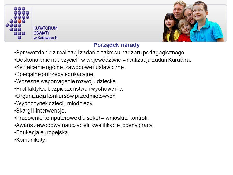 Porządek narady Sprawozdanie z realizacji zadań z zakresu nadzoru pedagogicznego. Doskonalenie nauczycieli w województwie – realizacja zadań Kuratora.
