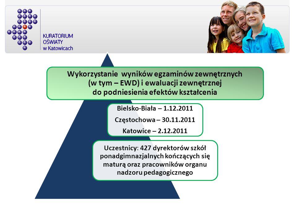 Wykorzystanie wyników egzaminów zewnętrznych (w tym – EWD) i ewaluacji zewnętrznej do podniesienia efektów kształcenia Bielsko-Biała – 1.12.2011 Częst