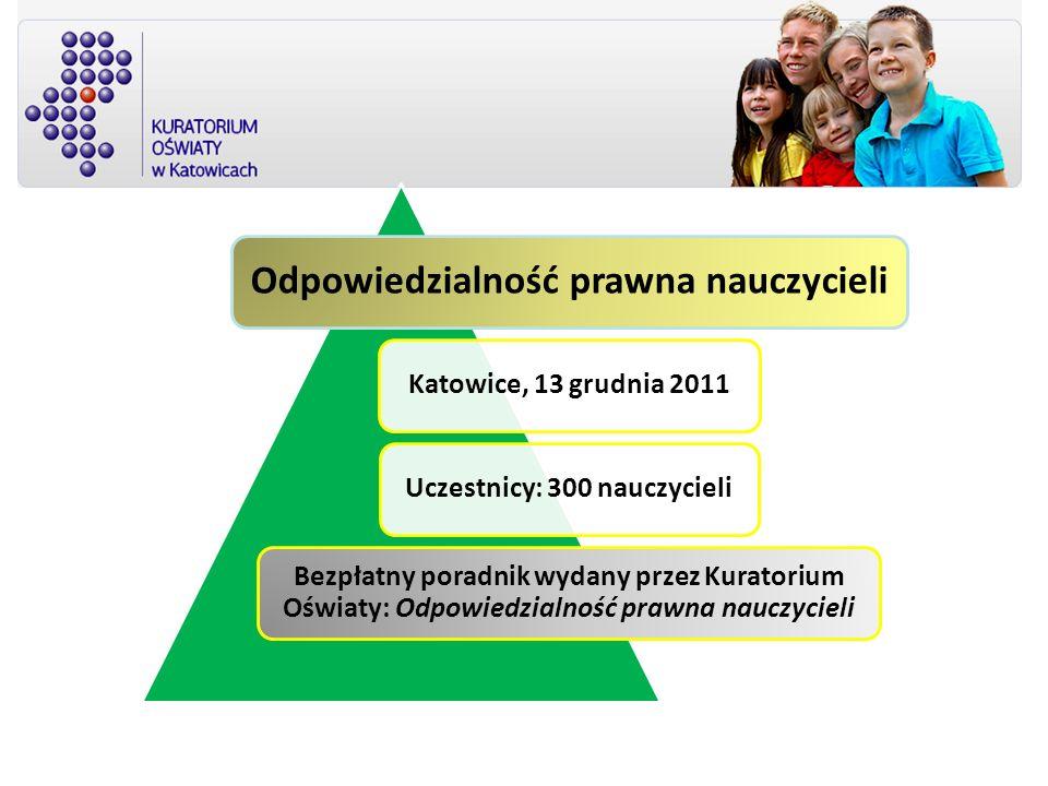 Odpowiedzialność prawna nauczycieli Katowice, 13 grudnia 2011Uczestnicy: 300 nauczycieli Bezpłatny poradnik wydany przez Kuratorium Oświaty: Odpowiedz