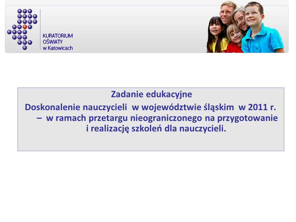 Zadanie edukacyjne Doskonalenie nauczycieli w województwie śląskim w 2011 r. – w ramach przetargu nieograniczonego na przygotowanie i realizację szkol
