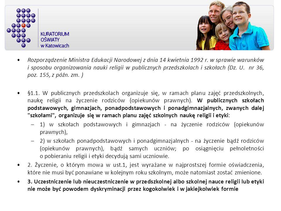 Rozporządzenie Ministra Edukacji Narodowej z dnia 14 kwietnia 1992 r. w sprawie warunków i sposobu organizowania nauki religii w publicznych przedszko
