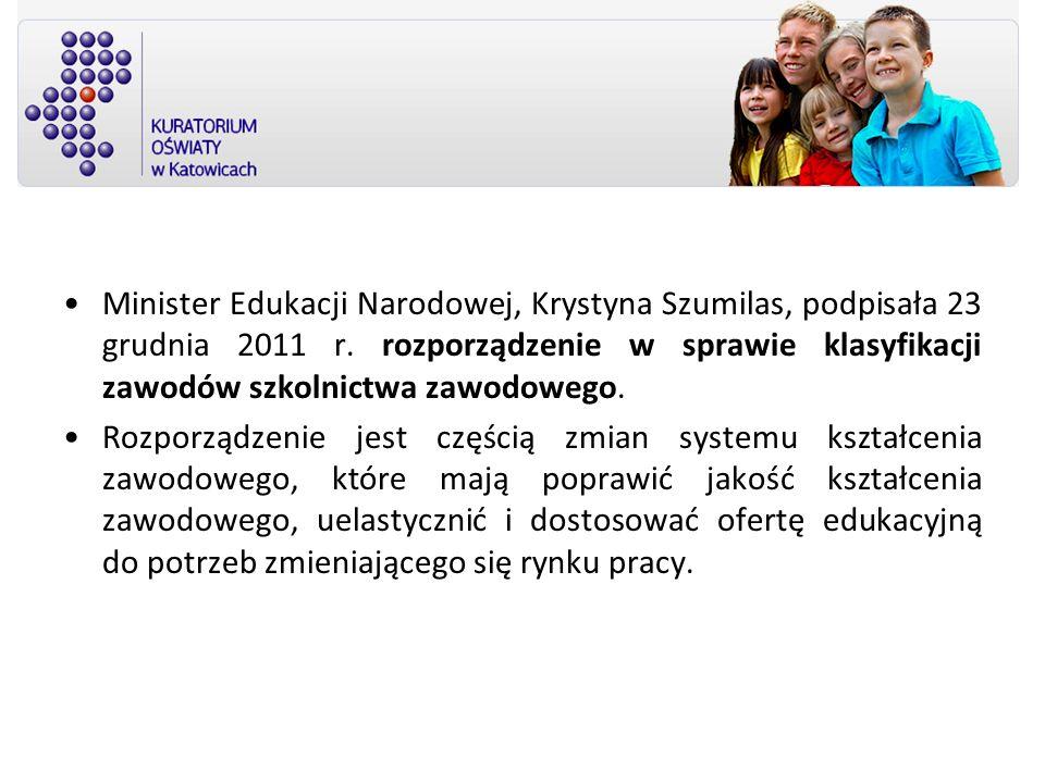 Minister Edukacji Narodowej, Krystyna Szumilas, podpisała 23 grudnia 2011 r. rozporządzenie w sprawie klasyfikacji zawodów szkolnictwa zawodowego. Roz
