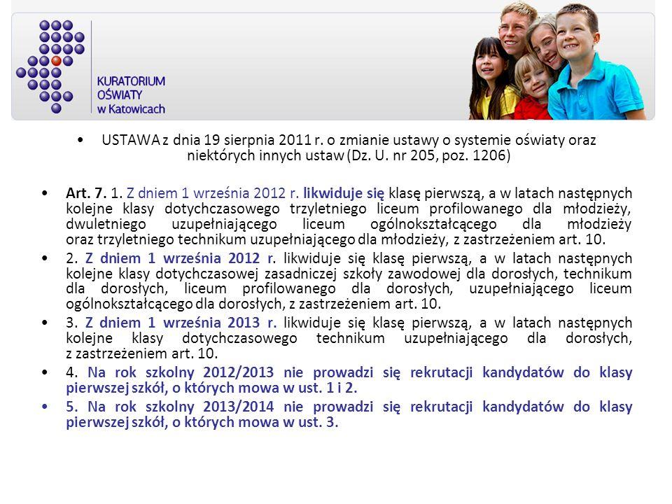 USTAWA z dnia 19 sierpnia 2011 r. o zmianie ustawy o systemie oświaty oraz niektórych innych ustaw (Dz. U. nr 205, poz. 1206) Art. 7. 1. Z dniem 1 wrz