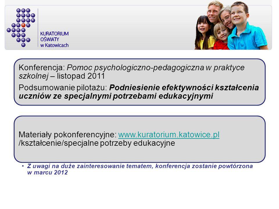 Konferencja: Pomoc psychologiczno-pedagogiczna w praktyce szkolnej – listopad 2011 Podsumowanie pilotażu: Podniesienie efektywności kształcenia ucznió