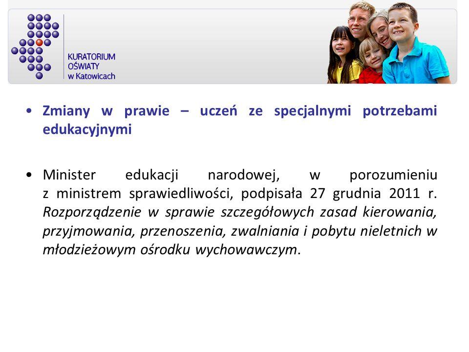 Zmiany w prawie – uczeń ze specjalnymi potrzebami edukacyjnymi Minister edukacji narodowej, w porozumieniu z ministrem sprawiedliwości, podpisała 27 g