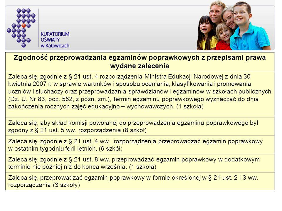 Zgodność przeprowadzania egzaminów poprawkowych z przepisami prawa wydane zalecenia Zaleca się, zgodnie z § 21 ust. 4 rozporządzenia Ministra Edukacji
