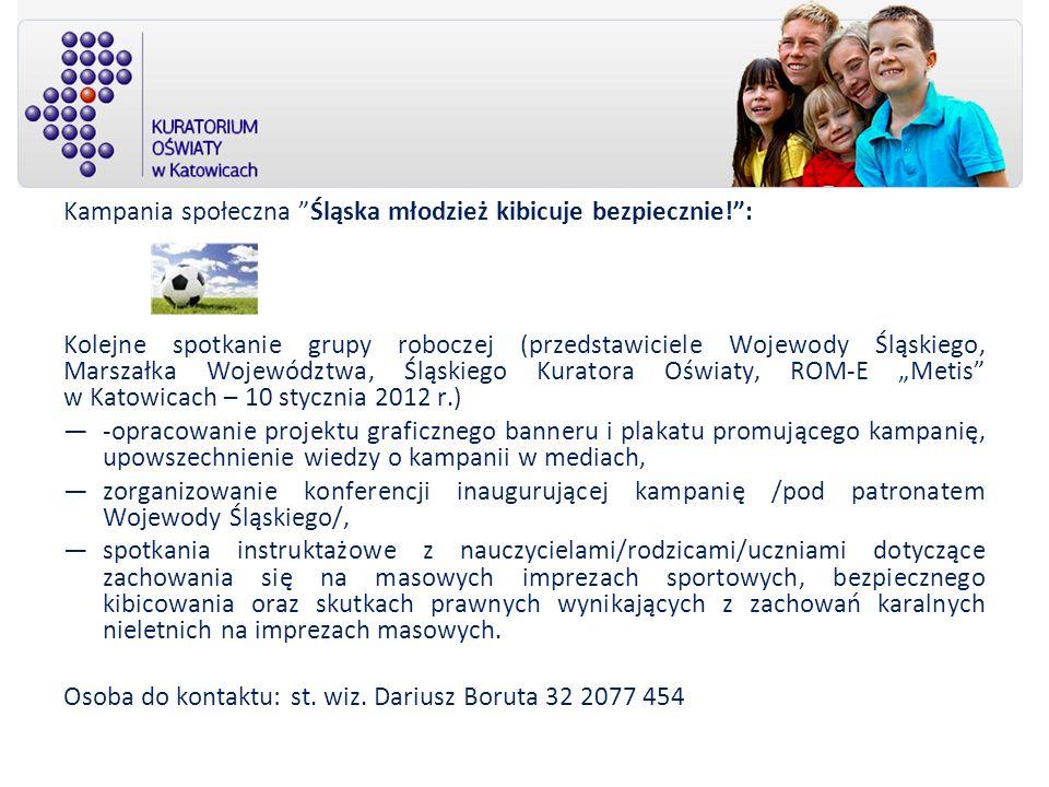 Kampania społeczna Śląska młodzież kibicuje bezpiecznie!: Kolejne spotkanie grupy roboczej (przedstawiciele Wojewody Śląskiego, Marszałka Województwa,