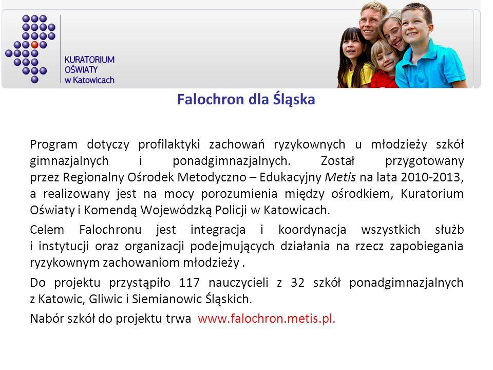 Falochron dla Śląska Program dotyczy profilaktyki zachowań ryzykownych u młodzieży szkół gimnazjalnych i ponadgimnazjalnych. Został przygotowany przez