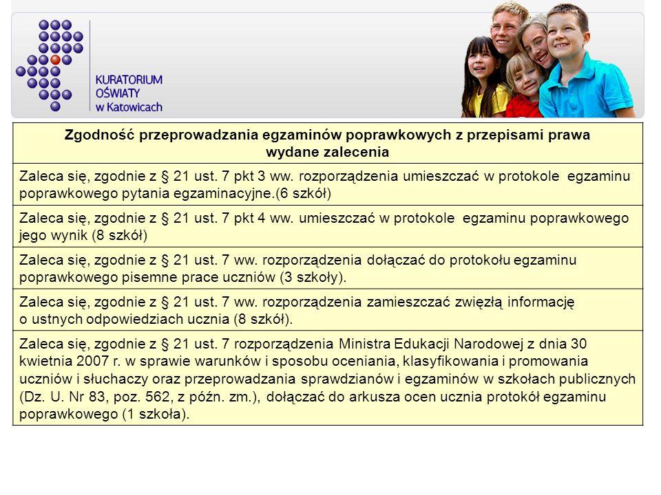 Zgodność przeprowadzania egzaminów poprawkowych z przepisami prawa wydane zalecenia Zaleca się, zgodnie z § 21 ust. 7 pkt 3 ww. rozporządzenia umieszc