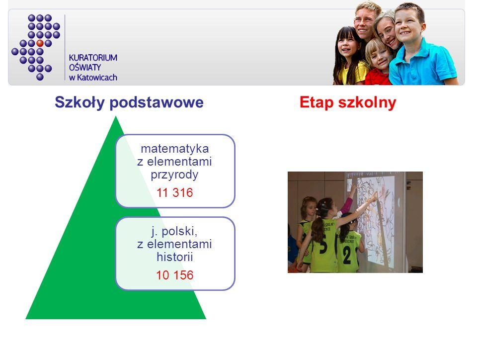 Szkoły podstawowe matematyka z elementami przyrody 11 316 j. polski, z elementami historii 10 156 Etap szkolny