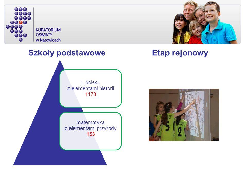 Szkoły podstawowe j. polski, z elementami historii 1173 matematyka z elementami przyrody 153 Etap rejonowy