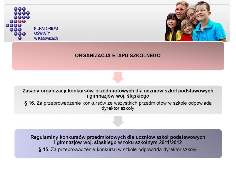 ORGANIZACJA ETAPU SZKOLNEGO Zasady organizacji konkursów przedmiotowych dla uczniów szkół podstawowych i gimnazjów woj. śląskiego § 16. Za przeprowadz