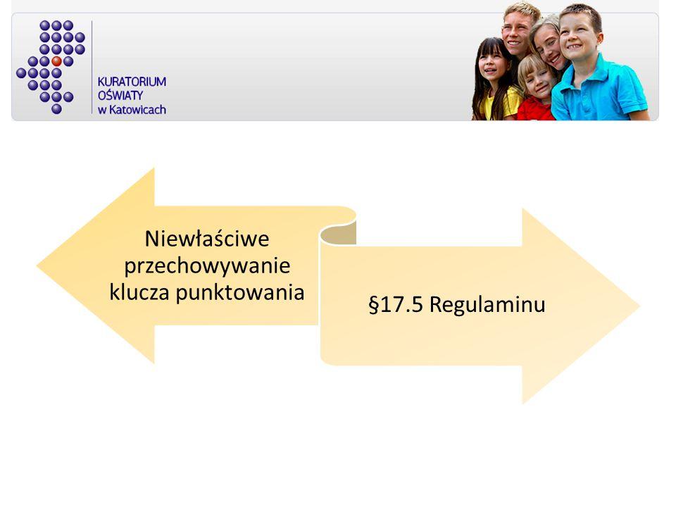 Niewłaściwe przechowywanie klucza punktowania §17.5 Regulaminu