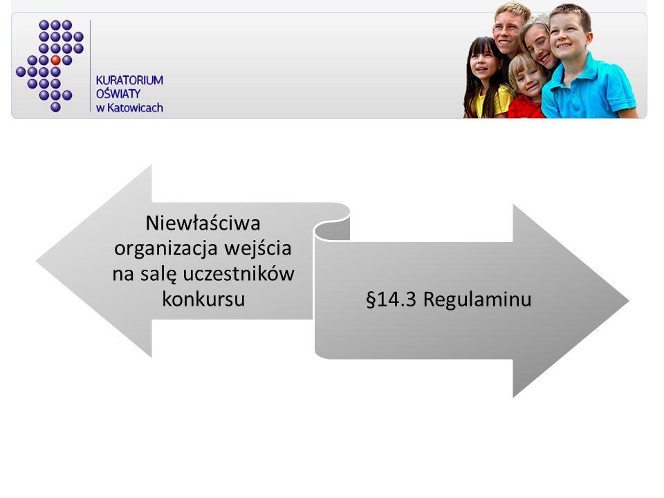 Niewłaściwa organizacja wejścia na salę uczestników konkursu §14.3 Regulaminu