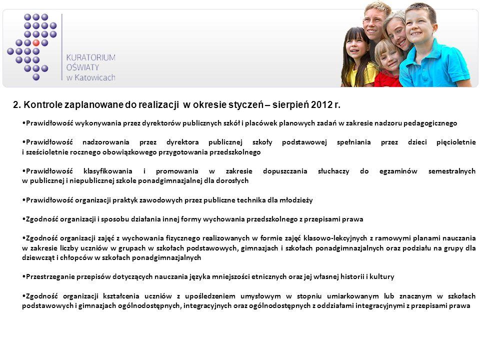 2. Kontrole zaplanowane do realizacji w okresie styczeń – sierpień 2012 r. Prawidłowość wykonywania przez dyrektorów publicznych szkół i placówek plan