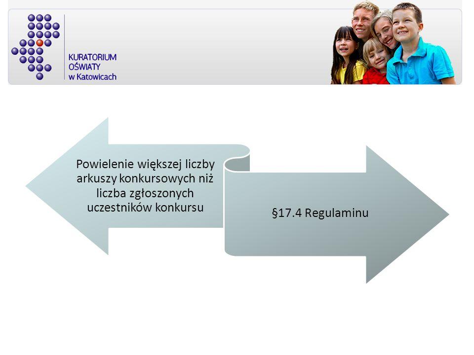 Powielenie większej liczby arkuszy konkursowych niż liczba zgłoszonych uczestników konkursu §17.4 Regulaminu