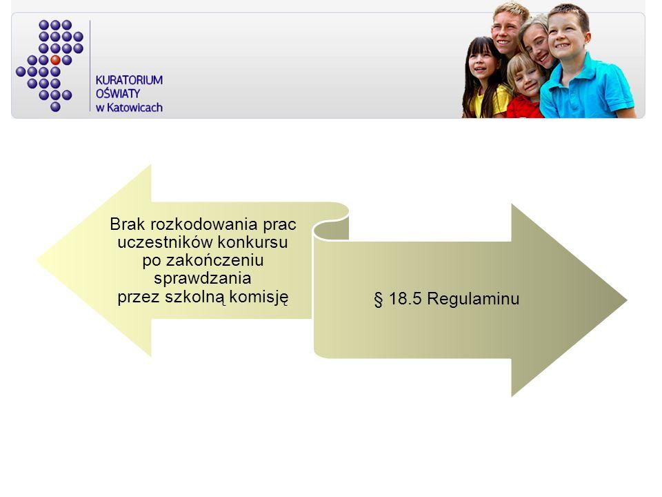 Brak rozkodowania prac uczestników konkursu po zakończeniu sprawdzania przez szkolną komisję § 18.5 Regulaminu