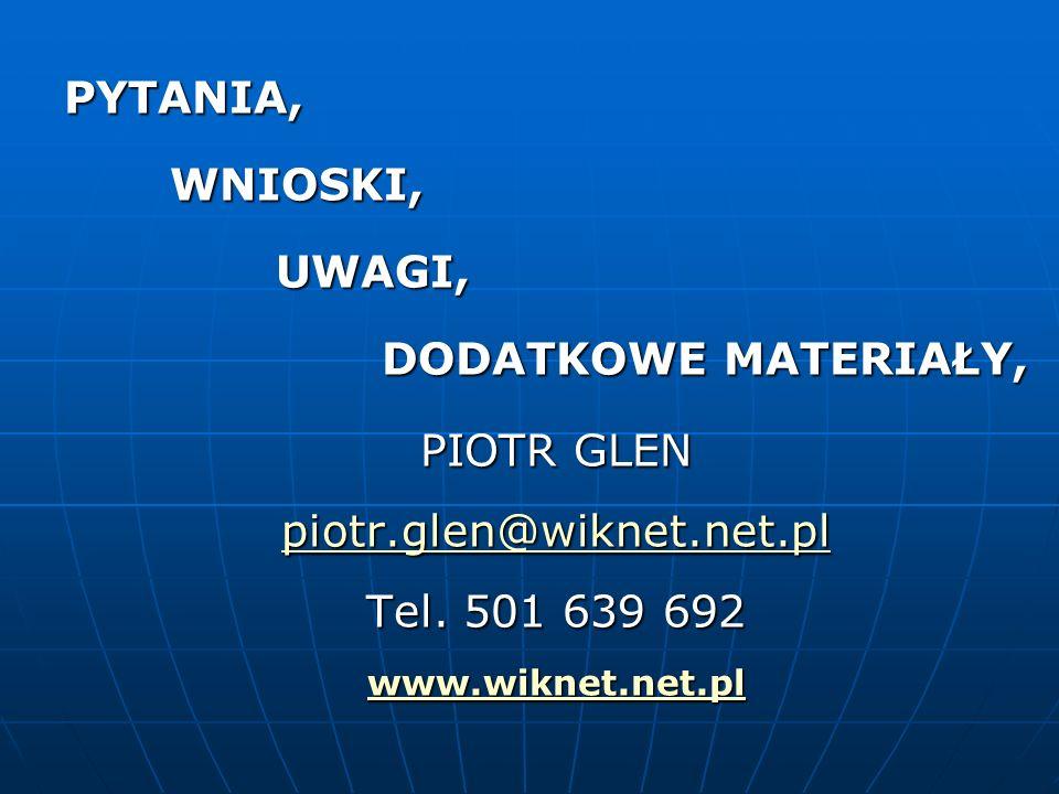 PYTANIA,WNIOSKI,UWAGI, DODATKOWE MATERIAŁY, PIOTR GLEN piotr.glen@wiknet.net.pl Tel. 501 639 692 www.wiknet.net.pl