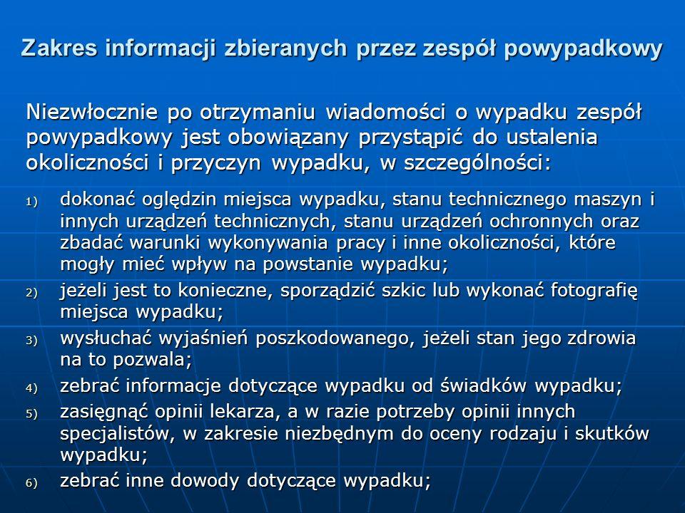 Zakres informacji zbieranych przez zespół powypadkowy Niezwłocznie po otrzymaniu wiadomości o wypadku zespół powypadkowy jest obowiązany przystąpić do