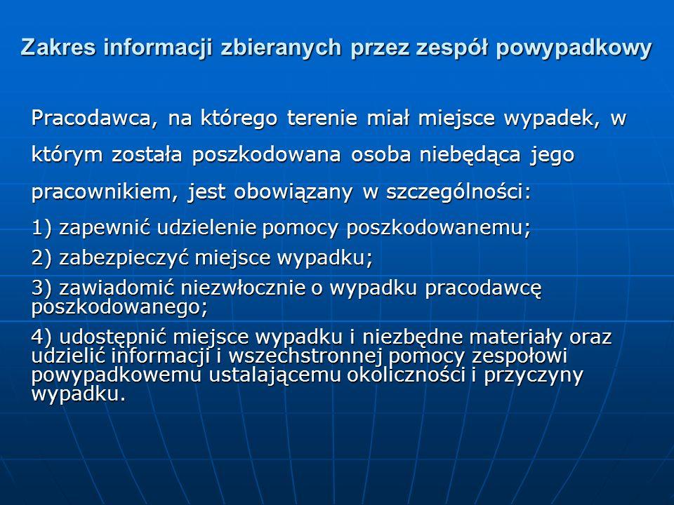 Zakres informacji zbieranych przez zespół powypadkowy Pracodawca, na którego terenie miał miejsce wypadek, w którym została poszkodowana osoba niebędą