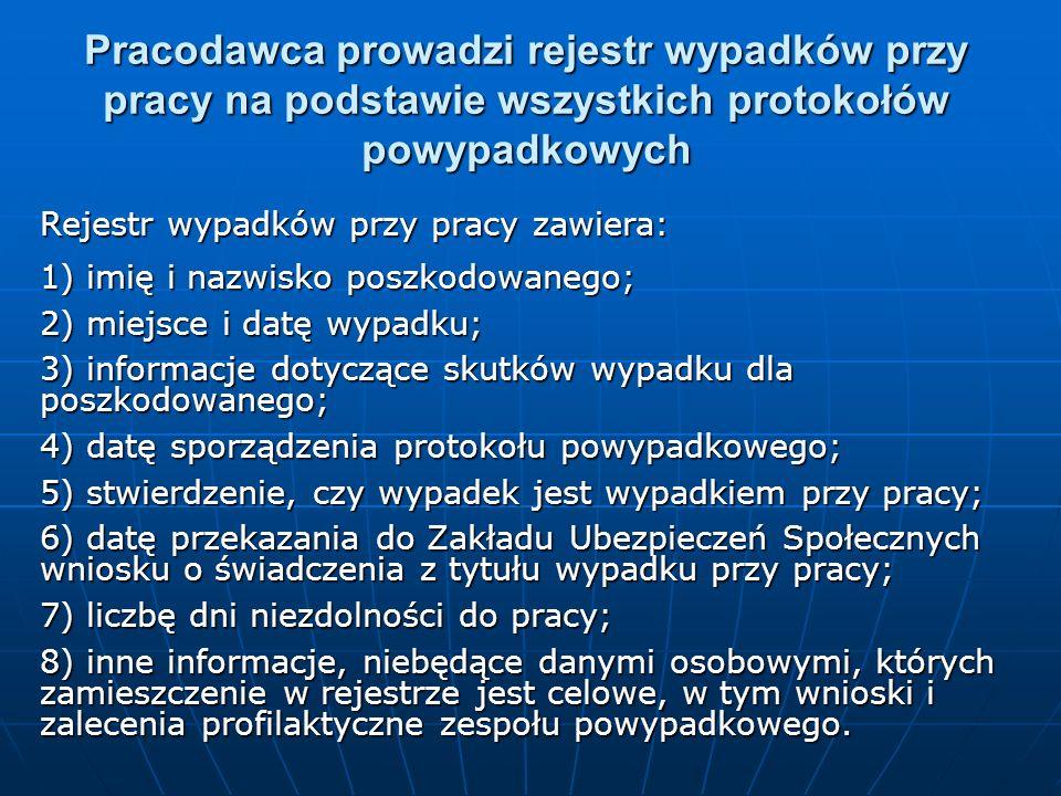 Pracodawca prowadzi rejestr wypadków przy pracy na podstawie wszystkich protokołów powypadkowych Rejestr wypadków przy pracy zawiera: 1) imię i nazwis