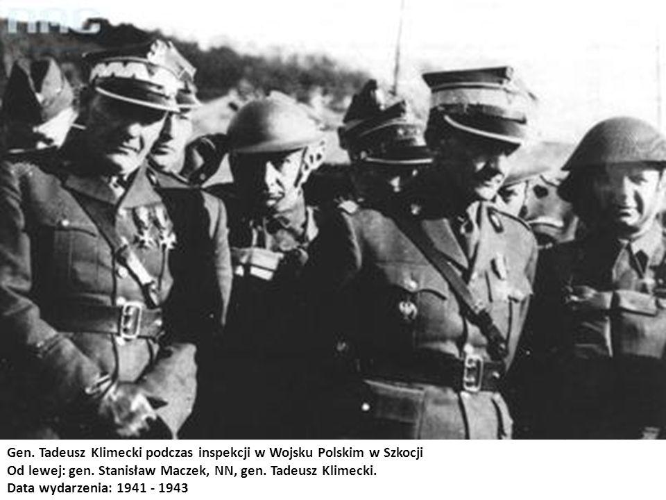 Gen. Tadeusz Klimecki podczas inspekcji w Wojsku Polskim w Szkocji Od lewej: gen. Stanisław Maczek, NN, gen. Tadeusz Klimecki. Data wydarzenia: 1941 -