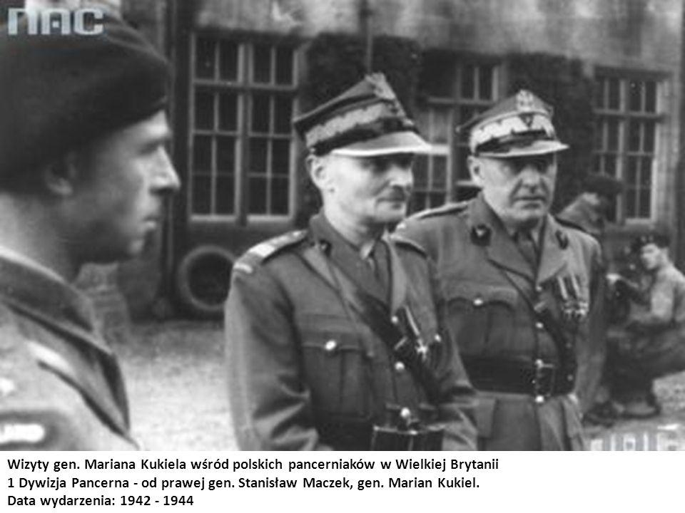 Wizyty gen. Mariana Kukiela wśród polskich pancerniaków w Wielkiej Brytanii 1 Dywizja Pancerna - od prawej gen. Stanisław Maczek, gen. Marian Kukiel.