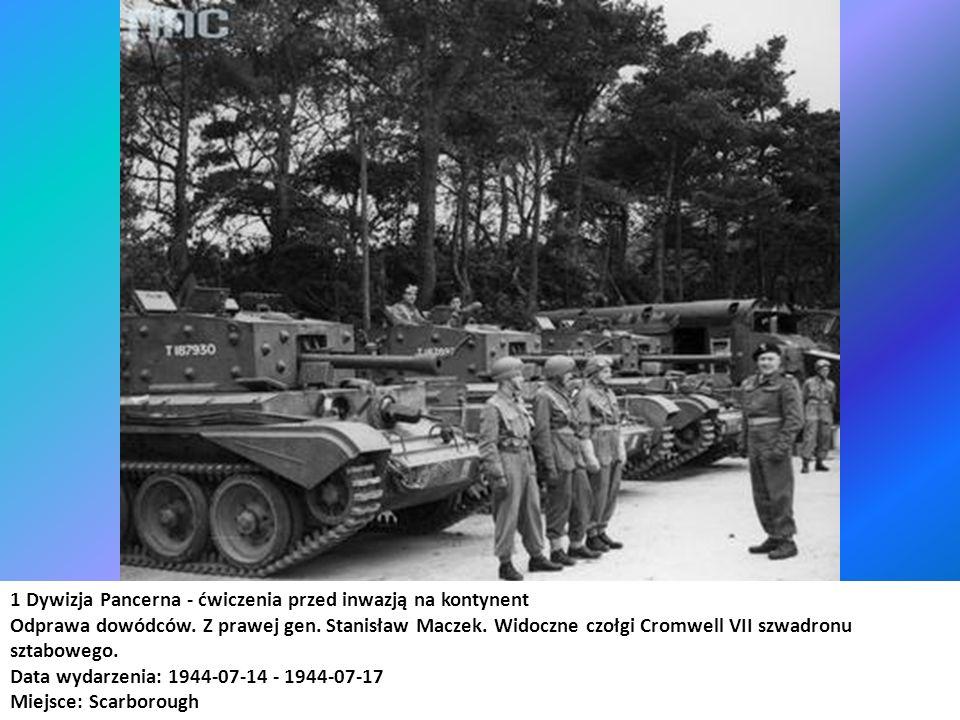 1 Dywizja Pancerna - ćwiczenia przed inwazją na kontynent Odprawa dowódców. Z prawej gen. Stanisław Maczek. Widoczne czołgi Cromwell VII szwadronu szt