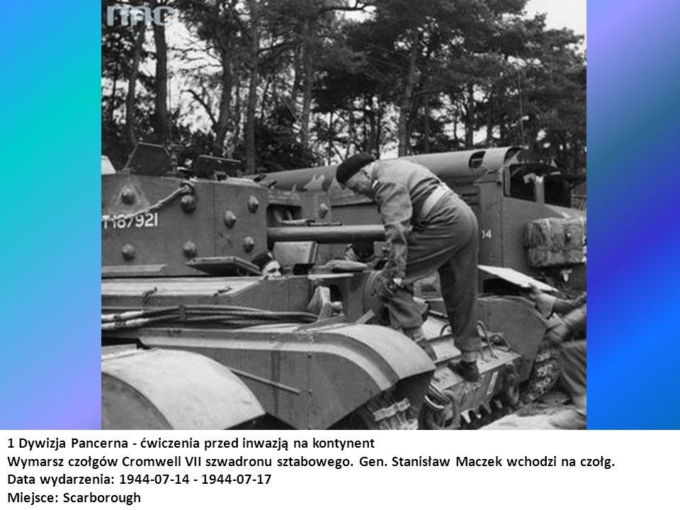 1 Dywizja Pancerna - ćwiczenia przed inwazją na kontynent Wymarsz czołgów Cromwell VII szwadronu sztabowego. Gen. Stanisław Maczek wchodzi na czołg. D