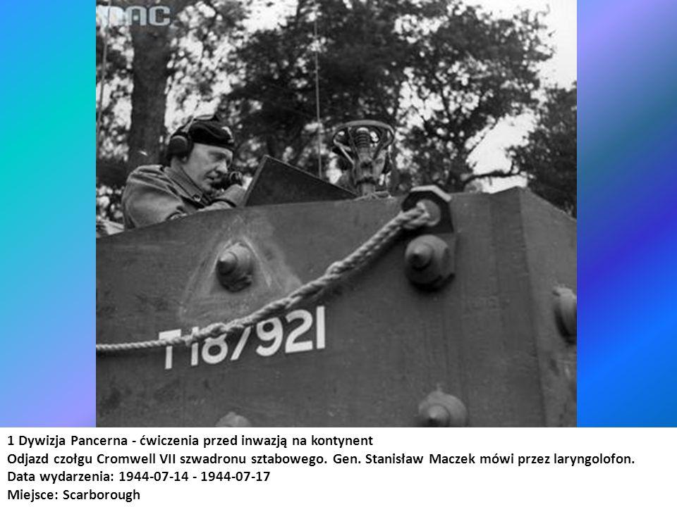 1 Dywizja Pancerna - ćwiczenia przed inwazją na kontynent Odjazd czołgu Cromwell VII szwadronu sztabowego. Gen. Stanisław Maczek mówi przez laryngolof