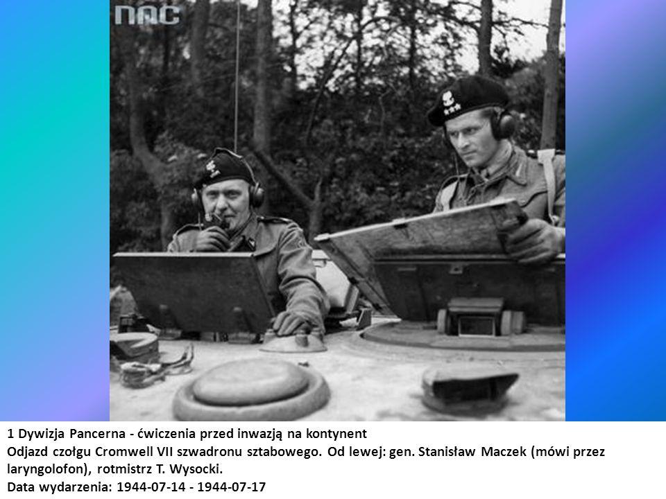 1 Dywizja Pancerna - ćwiczenia przed inwazją na kontynent Odjazd czołgu Cromwell VII szwadronu sztabowego. Od lewej: gen. Stanisław Maczek (mówi przez