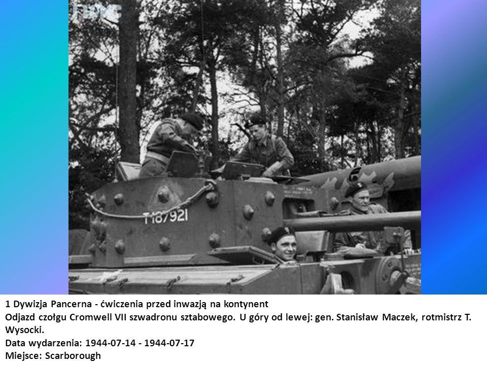 1 Dywizja Pancerna - ćwiczenia przed inwazją na kontynent Odjazd czołgu Cromwell VII szwadronu sztabowego. U góry od lewej: gen. Stanisław Maczek, rot