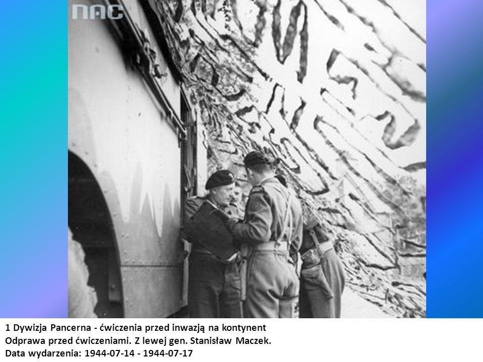 1 Dywizja Pancerna - ćwiczenia przed inwazją na kontynent Odprawa przed ćwiczeniami. Z lewej gen. Stanisław Maczek. Data wydarzenia: 1944-07-14 - 1944