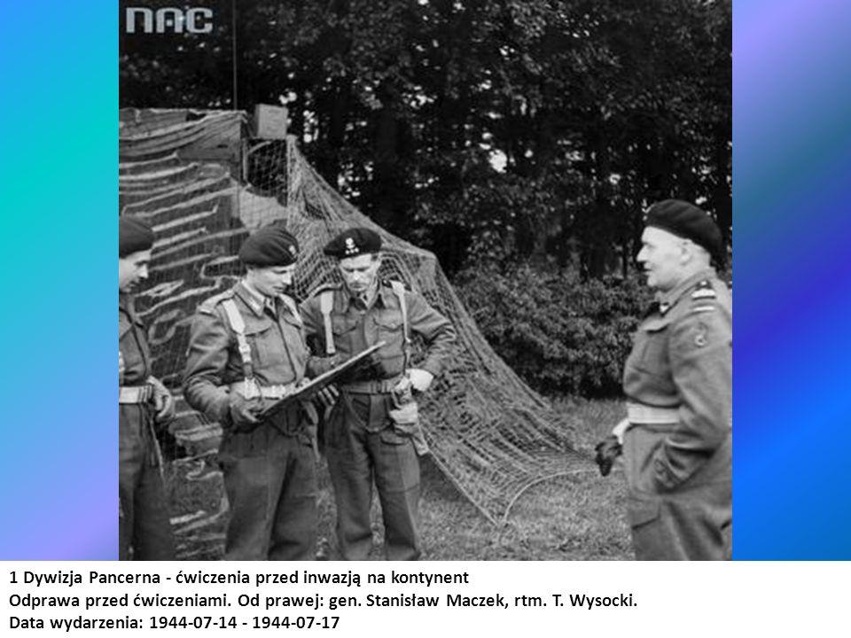 1 Dywizja Pancerna - ćwiczenia przed inwazją na kontynent Odprawa przed ćwiczeniami. Od prawej: gen. Stanisław Maczek, rtm. T. Wysocki. Data wydarzeni