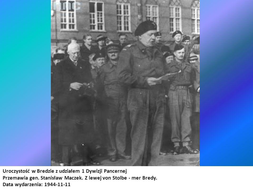 Uroczystość w Bredzie z udziałem 1 Dywizji Pancernej Przemawia gen. Stanisław Maczek. Z lewej von Stolbe - mer Bredy. Data wydarzenia: 1944-11-11 Miej