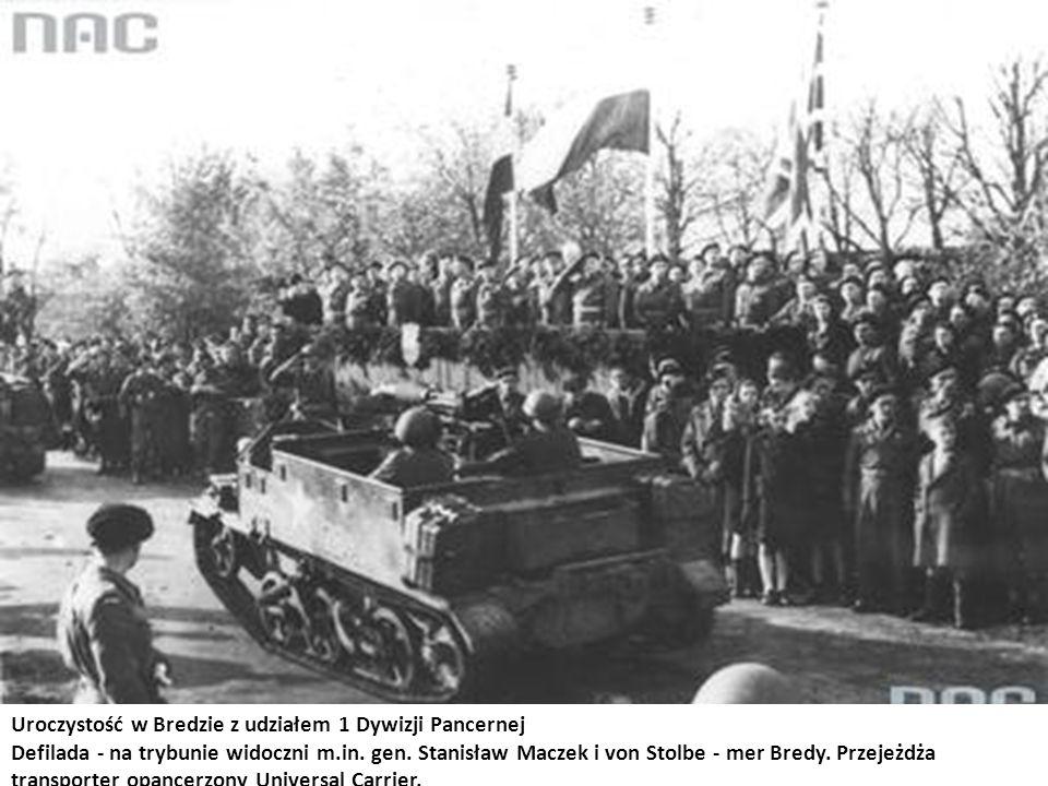 Uroczystość w Bredzie z udziałem 1 Dywizji Pancernej Defilada - na trybunie widoczni m.in. gen. Stanisław Maczek i von Stolbe - mer Bredy. Przejeżdża