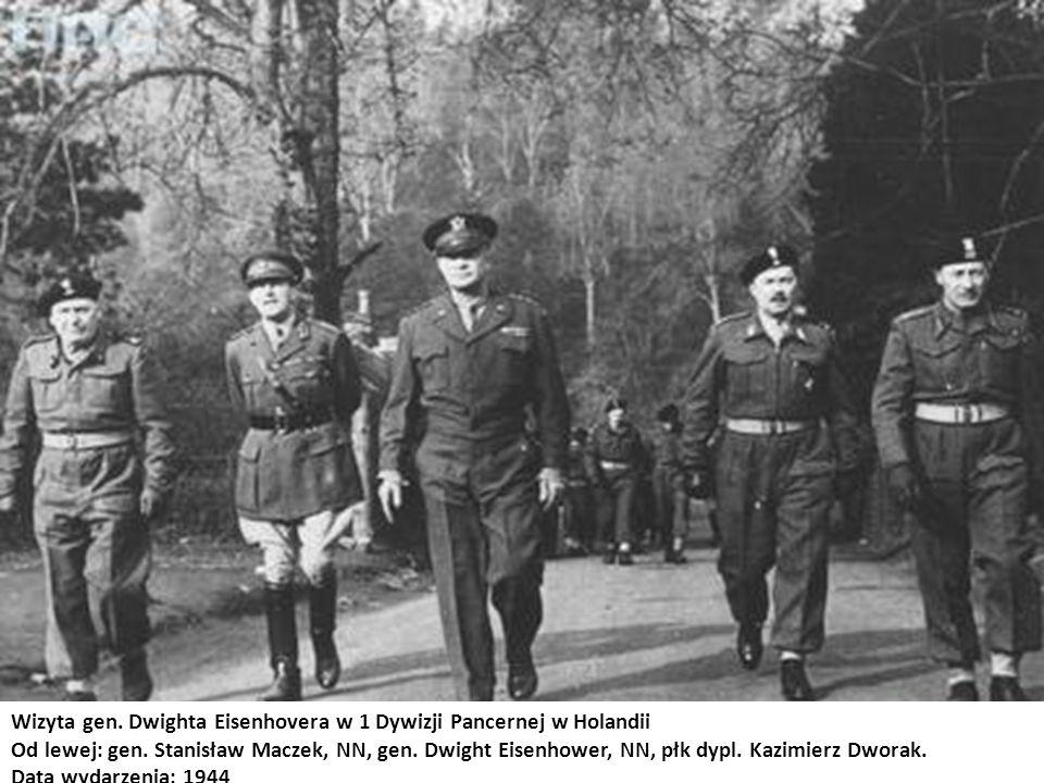 Wizyta gen. Dwighta Eisenhovera w 1 Dywizji Pancernej w Holandii Od lewej: gen. Stanisław Maczek, NN, gen. Dwight Eisenhower, NN, płk dypl. Kazimierz