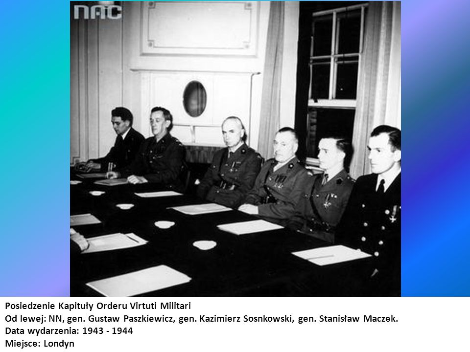 Posiedzenie Kapituły Orderu Virtuti Militari Od lewej: NN, gen. Gustaw Paszkiewicz, gen. Kazimierz Sosnkowski, gen. Stanisław Maczek. Data wydarzenia: