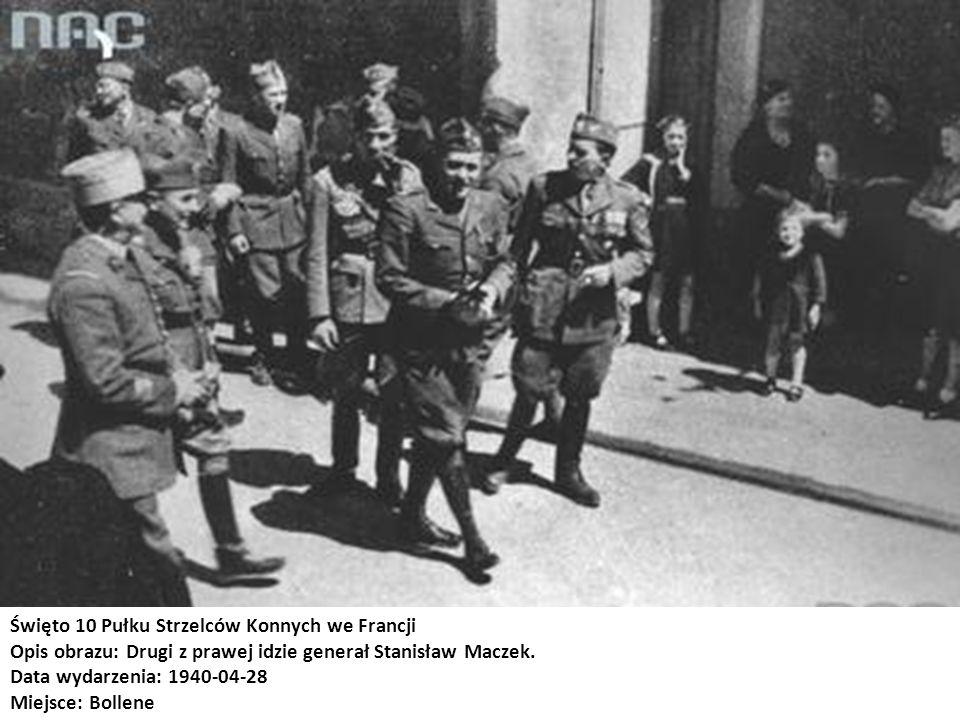 Gen.Stanisław Maczek i oficerowie 1 Dywizji Pancernej Stoją od prawej: ppłk dypl.