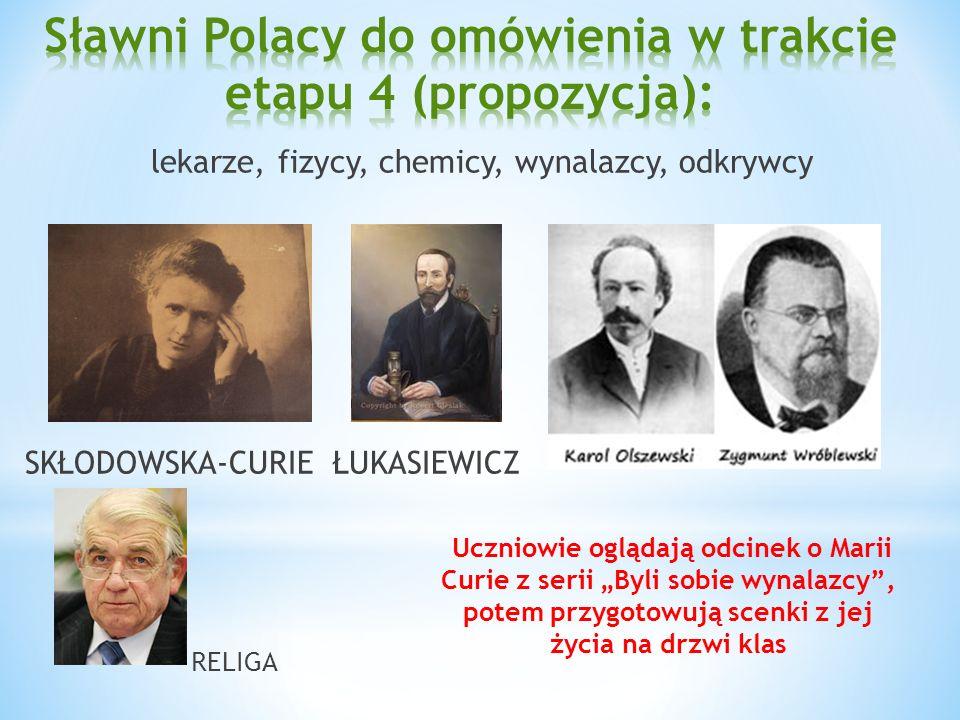 lekarze, fizycy, chemicy, wynalazcy, odkrywcy SKŁODOWSKA-CURIE ŁUKASIEWICZ RELIGA Uczniowie oglądają odcinek o Marii Curie z serii Byli sobie wynalazc