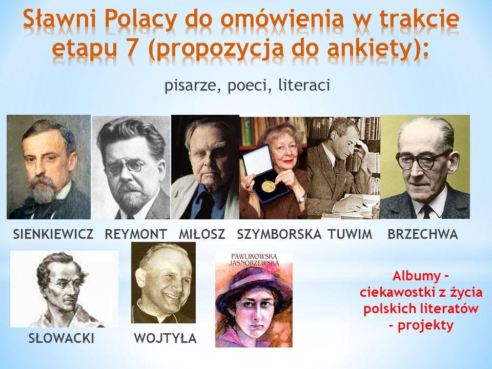 pisarze, poeci, literaci SIENKIEWICZ REYMONT MIŁOSZ SZYMBORSKA TUWIM BRZECHWA SŁOWACKI WOJTYŁA Albumy – ciekawostki z życia polskich literatów - proje