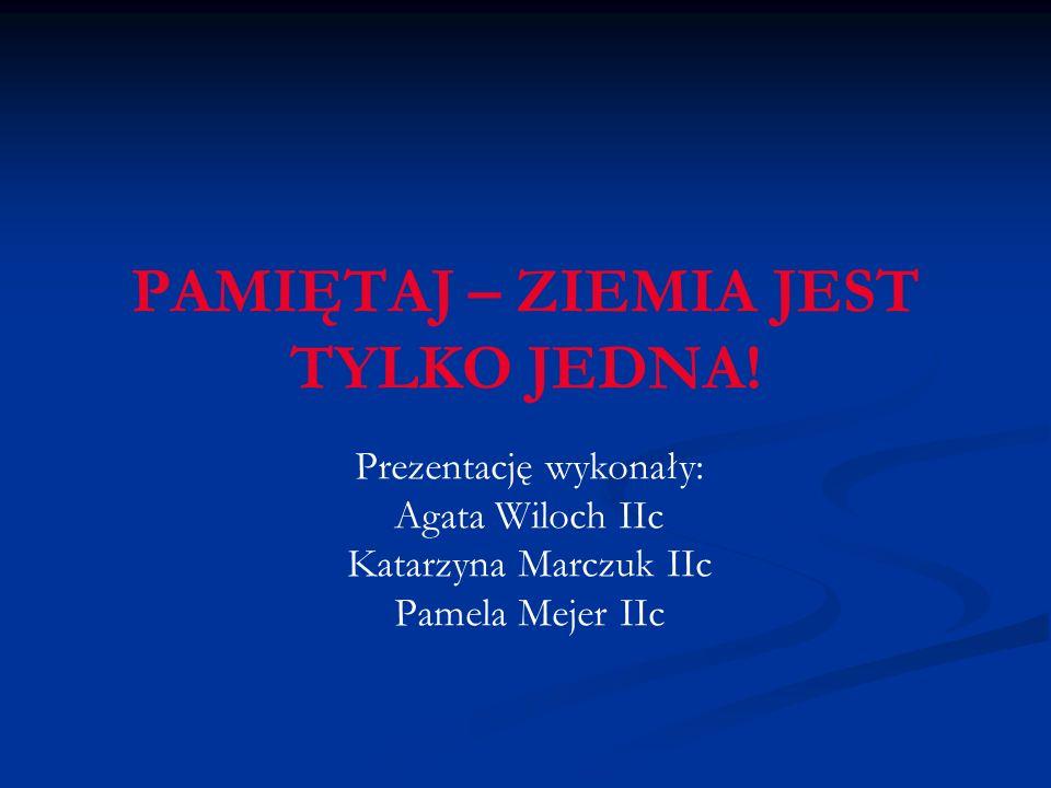 PAMIĘTAJ – ZIEMIA JEST TYLKO JEDNA! Prezentację wykonały: Agata Wiloch IIc Katarzyna Marczuk IIc Pamela Mejer IIc