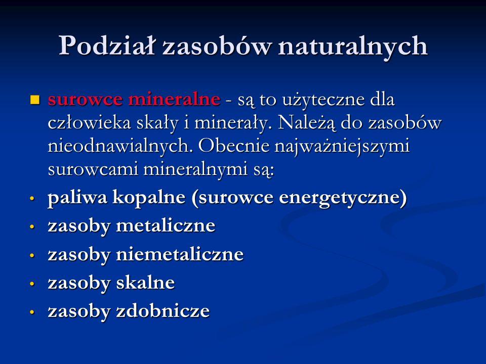 Podział zasobów naturalnych surowce mineralne - są to użyteczne dla człowieka skały i minerały. Należą do zasobów nieodnawialnych. Obecnie najważniejs