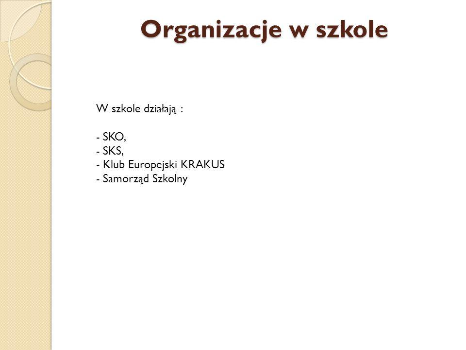 Organizacje w szkole W szkole działają : - SKO, - SKS, - Klub Europejski KRAKUS - Samorząd Szkolny